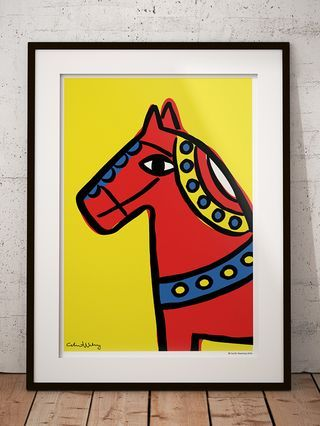Dalahorse Poster 50 x 70 cm. By Cecilia Waxberg Design. This is what my Dalahorse looks like. As clumsy, stiff and bold as the traditional Swedish wooden horse, Dalahästen, but my is more curious and friendly.
