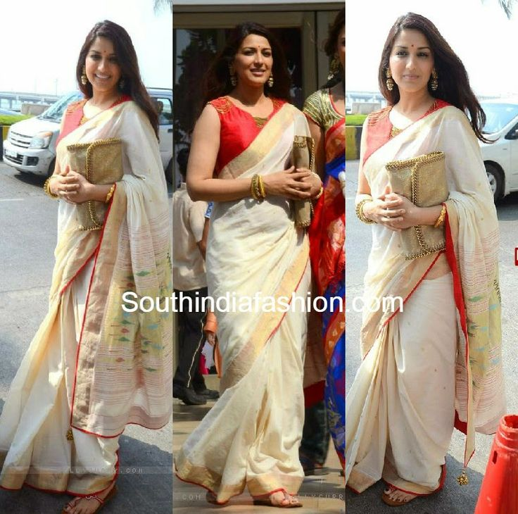 #sonalibendre glows in a traditional white and gold #handloom saree at a wedding