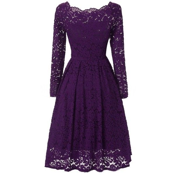 Vintage Lace Off-shoulder Long Sleeve Dress For Women ❤ liked on Polyvore featuring dresses