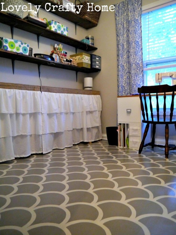 115 best stenciled floors images on pinterest floors for Painting over vinyl floor