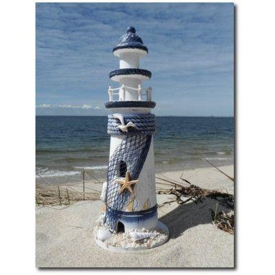 Wooden Blue and White Decorative Lighthouse Nautical Decor Nice Seaside Gift | eBay