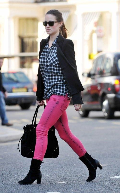 Pippa wearing Maje shirt, Zara jacket, and SuperDry jeans on 1/11/2012