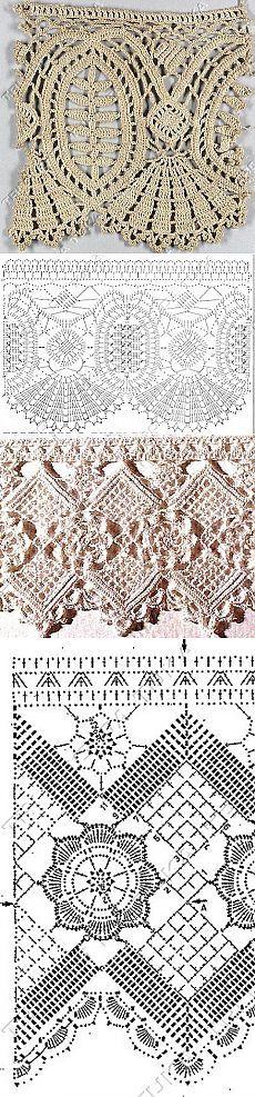 Puntilla, borde crochet ganchillo - manteles cortinas mantillas / Crochet lace border edge