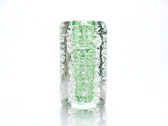 Handmade Green Block Vase Whirlpool by Frantisek Vizner for