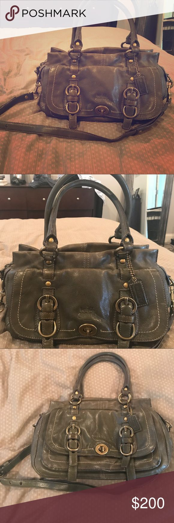 Rare Coach Legacy Leather Zip Satchel Gently pre-owned Rare Coach Legacy Leather Satchel - retails for $698 in bottle green with antique brass hardware. Stripe silk lining on inside. Gently used - with normal wear and tear, still in excellent condition. Slight soil smudges on inside lining and slight fading on bottom corner. Otherwise looks great. Coach Bags Satchels