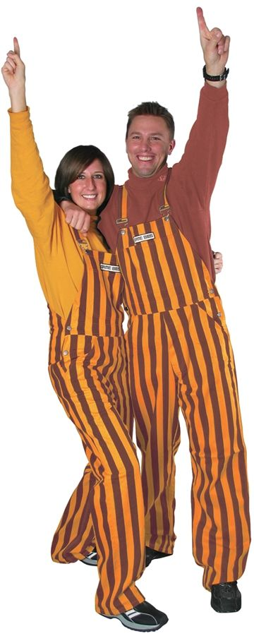 Gold & Maroon Adult Striped Game Bib Overalls