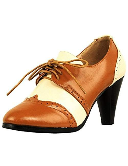 803783ff38f Womens Classic Retro Two Tone Embroidery - Wing Tip Lace Up Kitten Heel  Oxford Pumps