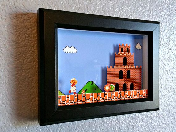 Super Mario Bros. Firey Mario Reaches Bowser's Castle Shadow Box