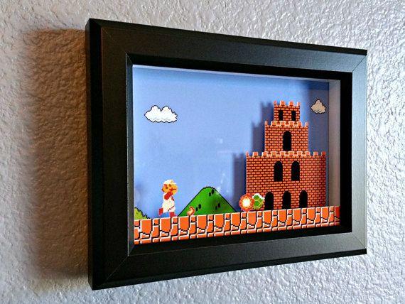 Super Mario Bros. Firey Mario Reaches Bowser's Castle Shadow Box