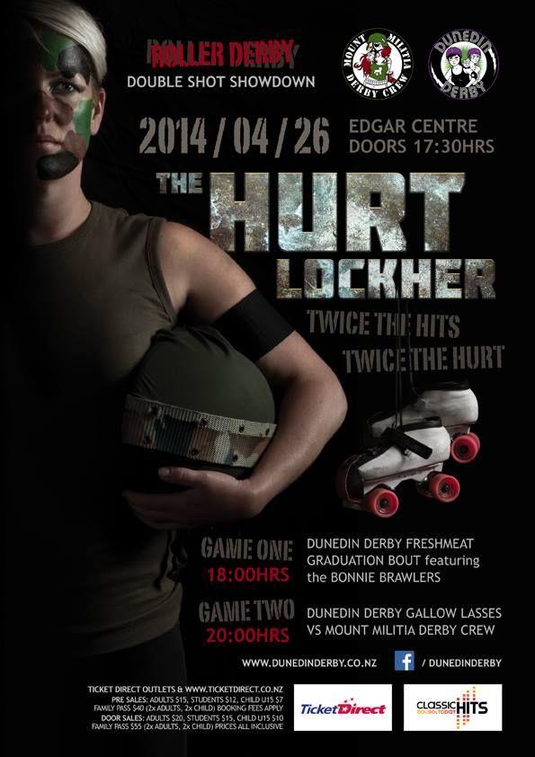 The Hurt Lockher. Roller Derby. April 26th, 2014. Dunedin, New Zealand.