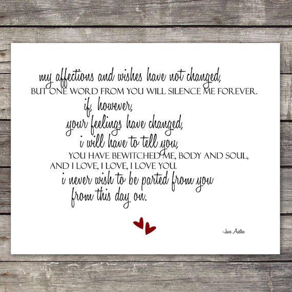 Mr. Darcy's Proposal Quote | Austen Pride and Prejudice Quote Paper Print with Mr. Darcy's Proposal ...