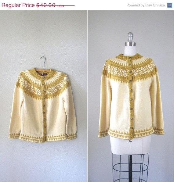love this! SALE Vintage 1960s Nordic Cardigan // 60s Mustard Yellow Wool Fair Isle Knit Sweater // Medium. $34.00, via Etsy.