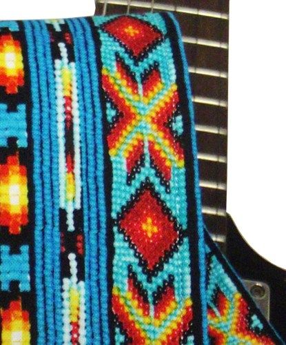 Colorful Turquoise Blue Native American Style Guitar Strap Handmade