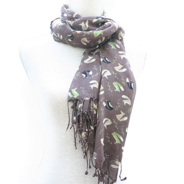 Fox Print Scarf Walnut #Jewellery #Accessories #scarf