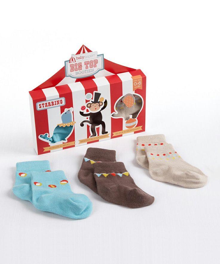 Blue & Brown Big Top Booties Sock Set