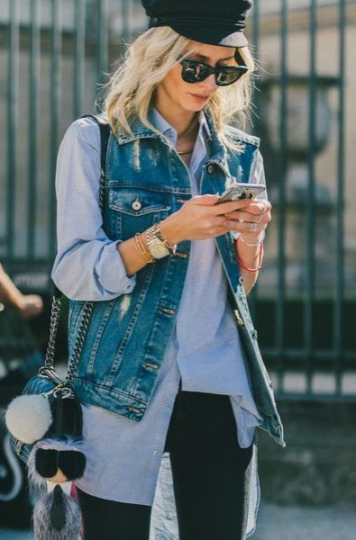 Fall Outfit Idea: Classic Black Jeans and Button Down Combo, Topped off With a Denim Vest // More Fall Style Inspiration From Paris Fashion Week: (http://www.racked.com/2015/10/2/9439243/paris-fashion-week-street-style#4848496)
