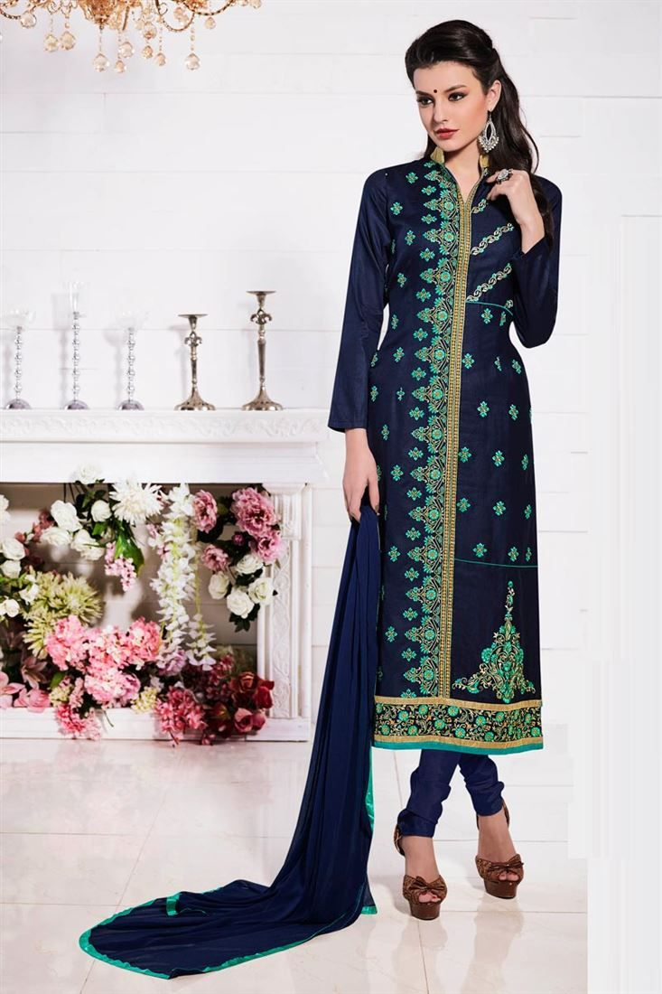 Online Shopping of Festive Wear Cotton Salwar Kameez In Blue Color With Embroidery Work from SareesBazaar, leading online ethnic clothing store offering latest collection of sarees, salwar suits, lehengas & kurtis