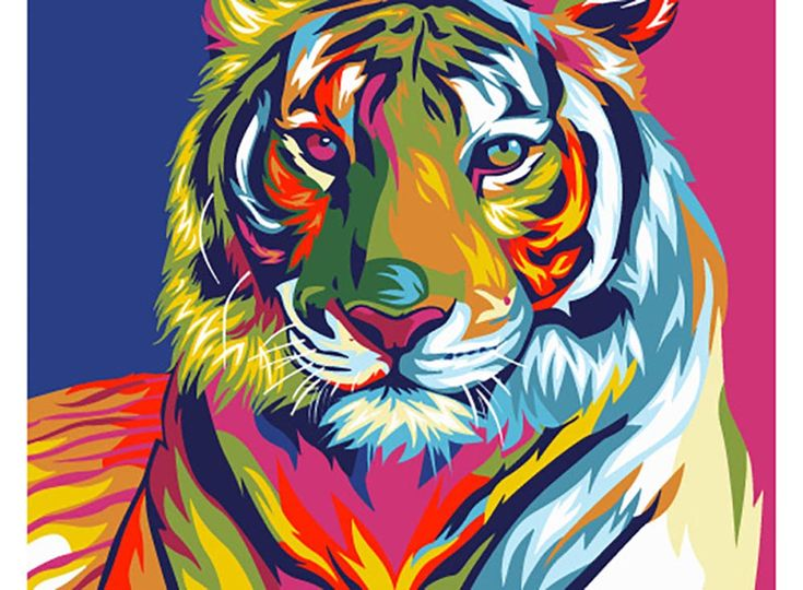 Картина по номерам, мини-раскраска, раскраска по номерам, paint by numbers, оригинальный подарок - Радужный тигр - Zvetnoe.ru - картины по номерам