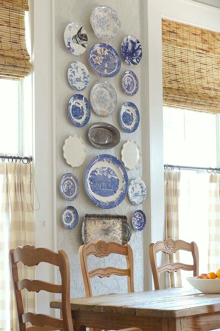 Cafe Curtains with Woven Wood Shades My Room Isn't Blue. Can I still Do Blue and White Chinoiserie?