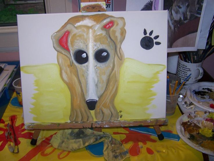 Puppy pawprint Greyhound cartooned from photo for buyer