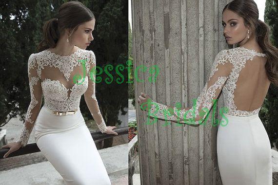 Sexy Langarm rückenfreie Venedig Lace Brautkleider, Hochzeitskleid Berta, Spitze chiffon Strand Brautkleid