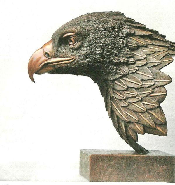 Bronze Birds Sculptures or statue by artist Robin Bell titled: 'Goldie (Big Golden Eagle Bird of Prey Head/Bust statue)'