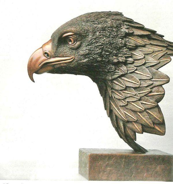 Bronze Birds Sculptures or statue by artist Robin Bell titled: 'Goldie (Big Golden Eagle Bird of Prey Head/Bust statue)'