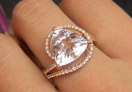 Engagement Ring -  3 Carat Morganite Ring With Diamonds In 14K Rose Gold $1000
