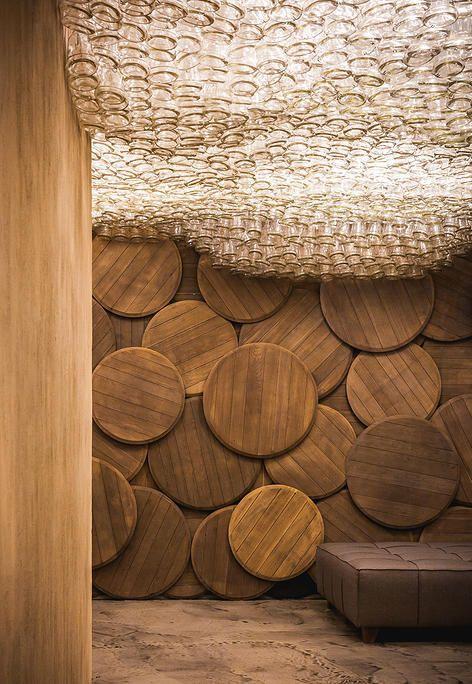 Shustov Brandy Bar - and their glorious glass bottle ceiling!