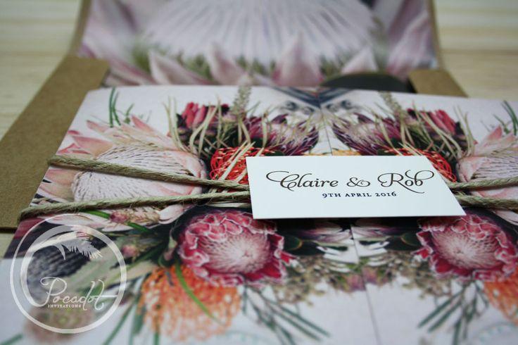 Australian Natives Floral Trifold Wedding Invitation ~ Pocadot Invitations