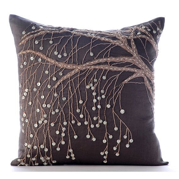 Decorative Throw Pillow Covers Accent Pillow Couch Sofa Bed Pillow Case 16x16 Brown Linen Pillow Cover Pearl & Jute Embroidered Nature Trail