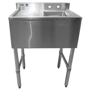 1 Bowl Under Bar Sink 24 inch Long with 12 inch Drainboard and Faucet: as secondary sink at prep area or bar