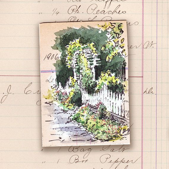 ACEO original art pen & wash watercolour archway garden SFA