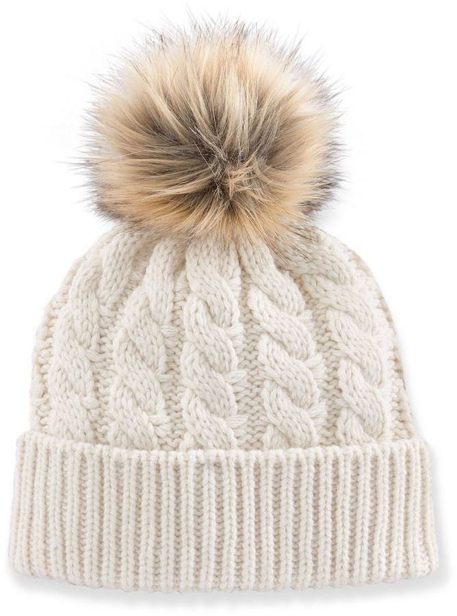 Madden Girl Faux-Fur Pom-Pom Cable-Knit Beanie Hat. A good beanie is a necessitie this winter. And its only $19.60!!!