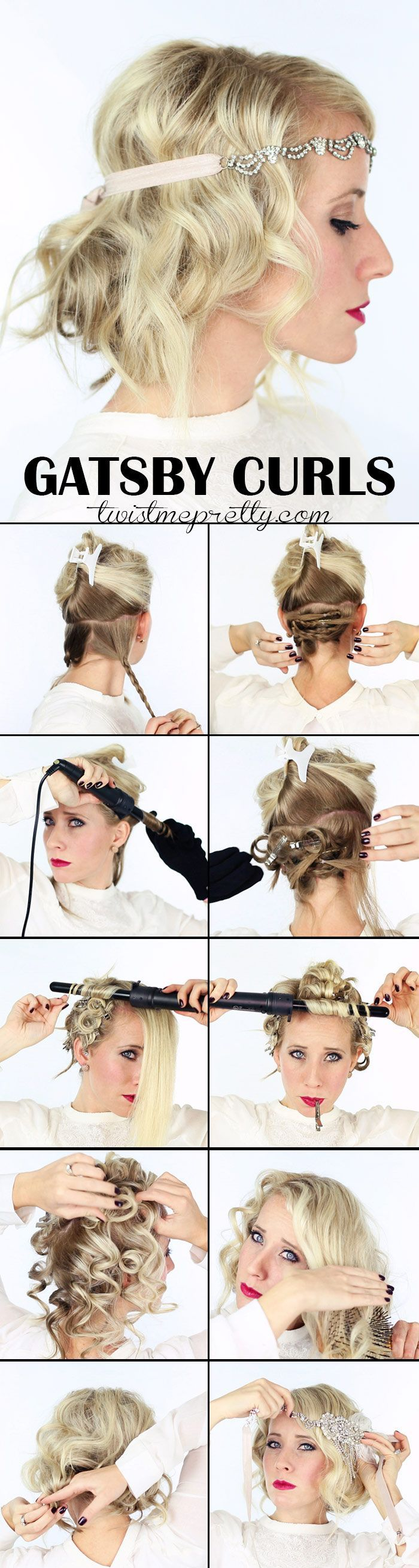 The perfect Gatsby Curls for your 1920 flapper girl costume! Come checkout the vintage updo and watch the easy to follow video tutorial!