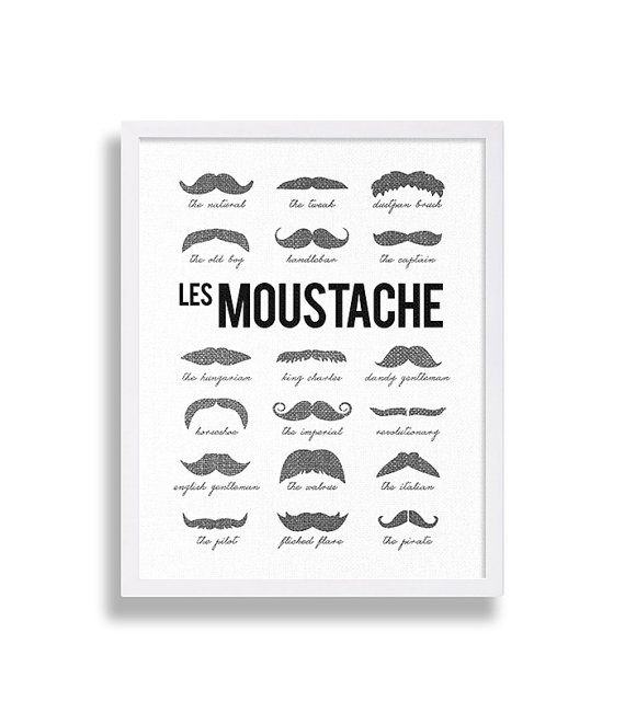 Types of Mustaches Print Hipster Art Modern Decor Black and White French Art…