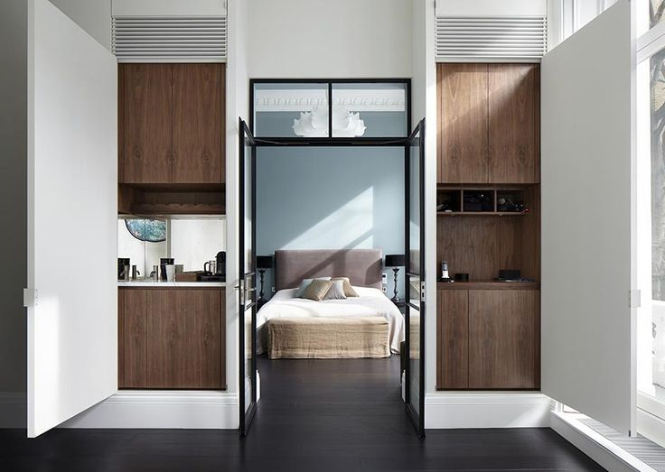 Emperor's Gate | Kensington Master bedroom suite, clever storage hides a coffee station and dressing table inside the wall.