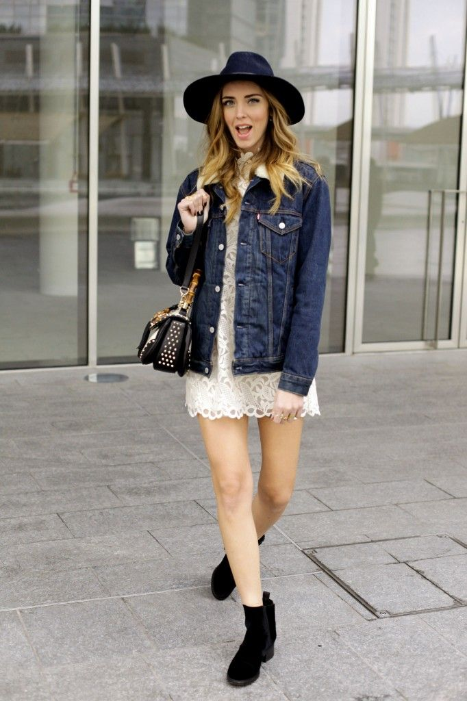 Chiara Ferragni The Blonde Salad   Stylekeepers dress Chanel velvet flat booties, Levi's denim jacket and Rag&Bone maxi hat Caia rings and bangle Gucci bag #streetstyle