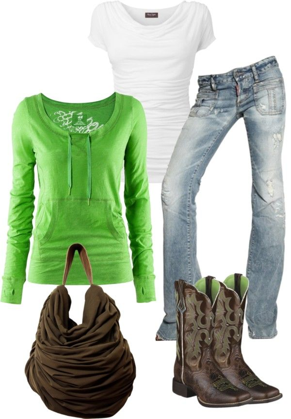 "A weird part of me really likes this even tho i would prob never wear cowboy boots-must be since im from O.K.! ""Simple Casual"" by sarah-jones-3 on Polyvore"