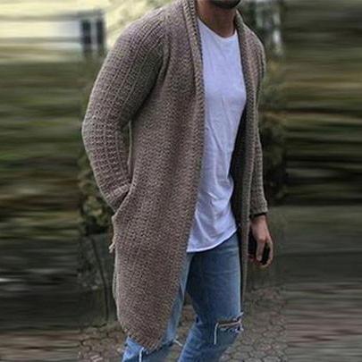 Chic Plain Lapel Collar Button Thicken Woolen Long Coat