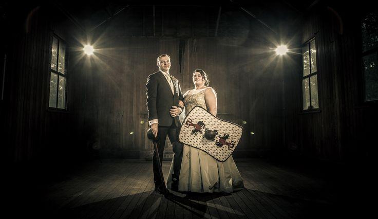 Medieval Wedding - Bride and Groom with shield  Toowoomba Wedding Photography   Salt Studios   Andrew Coates Wedding Artworks - Gabbinbar Homestead