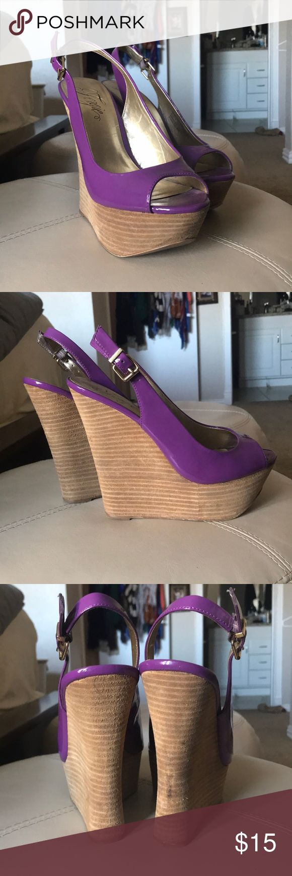 Fergie Purple Wedges Size 8 Purple wedges size 8 Worn only a few times and have been sitting in my closet. 🤷🏼‍♀️ From Fergie Fergie Shoes Wedges