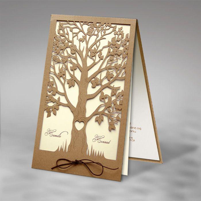 F1200 esküvői meghívó Lézervágott fa mintájával kiválóan passzol vintage stílusú vagy szabadtéri esküvőhöz ;)