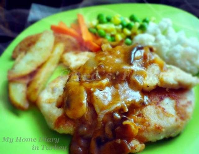 Citra's Home Diary: Chicken Steak with mushrooms sauce.