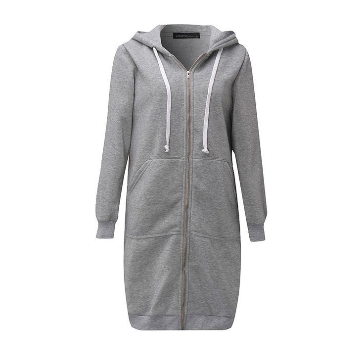 Winter Autumn  Fashion Women Long Sleeve Hooded Jacket Loose Warm Hoodies Solid Sweatshirt Plus Size 3 Colors - Gray Zipper, L Do you want it Get it here