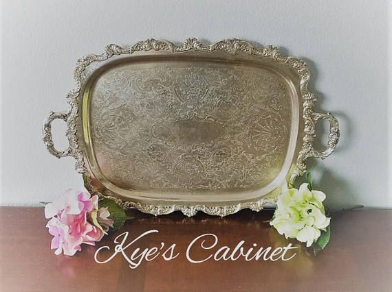 Large Antique Towle Footed Silver Serving Tray Vintage Silver