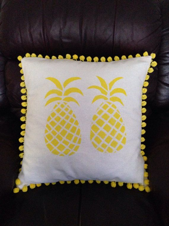 Pineapple cushion cover pillow Housse de coussin ananas jaune pompon