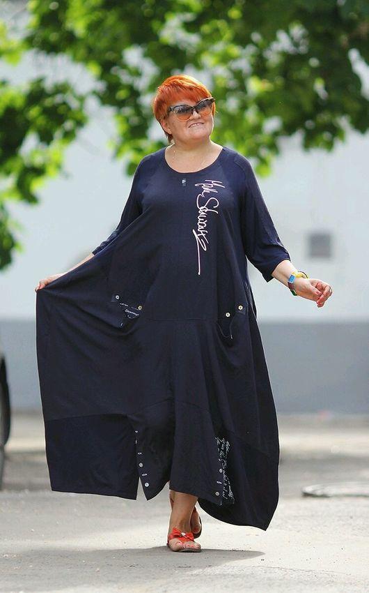 Платье коллекции *Моника Манти*. Ткань: хлопок, лён. Размеры 54 - 64. Цена 7800 руб. Цвета Индиго, темно-синий, лайм. красный