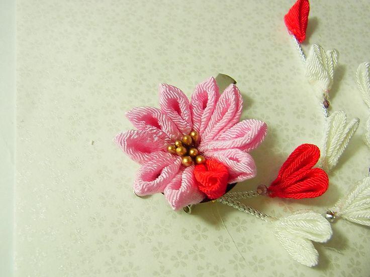 Tsumami Kanzashi flower brooch and hair clip  Kimono Japanese Chirimen - chrysanthemum (Pink) by chirimenbunny on Etsy