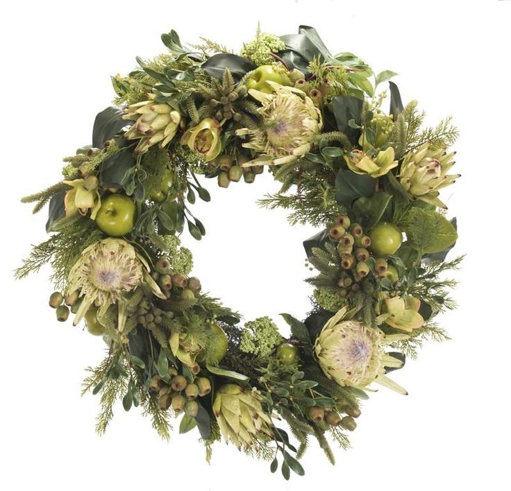 "Natural Decorations, Inc. - Protea Orchid Green  | Wreath 24"""